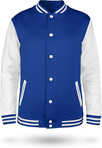 normani Kinder College Jacke für Jungen und Mädchen mit Ärmeln in Kontrastfarben Farbe Royal/White Größe 9-10 (140)