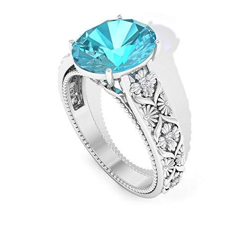 Anillo de compromiso con solitario suizo de 3,5 quilates, forma ovalada, diamante certificado SGL IJ-SI, anillo de compromiso vintage, anillo de declaración nupcial, 14K Oro rosa, Size:EU 52