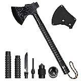 LIANTRAL Survival Camping Axe, Folding Tactical Axe Hatchet with Hammer, Nylon Sheath for Outdoor Adventures