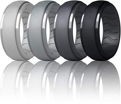 Dookeh Breathable Silicone Wedding Rings for Men - Skin Safe Mens Rubber Wedding Bands - Improved Design for Crossfit Workout Swimming Firefighters Military (Black,Dark Gray,Gray,Light Gray,Size 9)