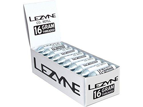 LEZYNE Display Box avec CO2 Cartouches de Rechange Pompes/Support & Pied, Blanc, 16 G, 30 Pièces.