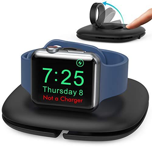 AHASTYLE Apple Watch Ladestation Pop-up Ständer Dock Ladestation für iWatch【Ladegerät Nicht enthalten】mit Kabel Organizer Faltbar Halterung Kompatibel mit Apple Watch Series 7 6 5 4 3 2 1 SE(Schwarz)