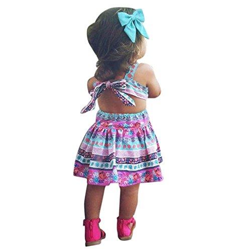 UOMOGO Vestito Stampato Floreale imbottigliato delle Ragazze - Vestito da Principessa per Il Bambino in Pizzo di Estate del Bambino Vestiti (età: 3-4 Anni, Rosa)