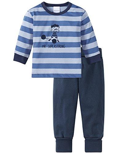 Schiesser Baby-Jungen Zirkus Strong Boy Anzug lang 2-teilig Zweiteiliger Schlafanzug, Blau (Blau 800), 74 (Herstellergröße: 074)