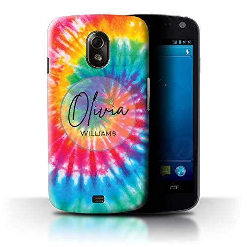 eSwish Personalisiert Individuell Stoff Tie-Dye Muster Hülle für Samsung Galaxy Nexus 3/I9250 / Regenbogen Eklipse Strudel Design/Initiale/Name/Text Schutzhülle/Case/Etui