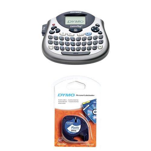 Dymo S0758370 Letra Tag LT-100T Elektronisches Beschriftungsgerät + S0721660 Etikettenband (LetraTag-Etikettiergeräte, Kunststoff, 12 mm, 4-Meter-Rolle) schwarz auf weiß