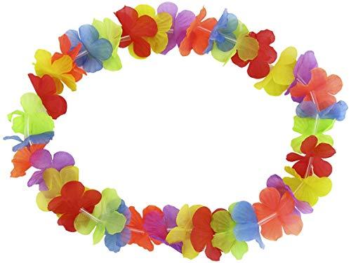 Alsino Pack de 24 Collares Hawaianos HK-01 | Flores Multicolores | Tejido | Diámetro Aprox. 30 cm | para Fiestas Temáticas | Hawaii | Despedida de Soltero y Soltera| Decoración
