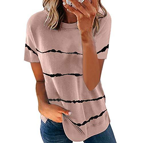Primavera Y Verano Ropa Casual para Mujer Camiseta Estampada A Rayas con TeñIdo Anudado Tops Sueltos De Manga Corta