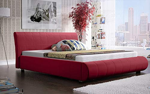 MG Home Bett Schlafzimmer Doppelbett Polsterbett Bettkasten Lattenroste 4 Größen Lana Rot Rosa (Amore Rot Old Rose, 200 x 200 cm)