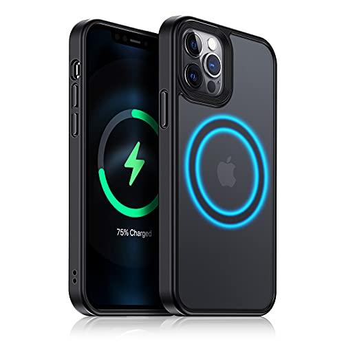Meifigno Magnetische Hülle kompatibel mit iPhone 12/12 Pro, [Militärgeprüft und Kompatibel mit MagSafe], Durchscheinende Matte Rückseite mit weichem Rahmen, für iPhone 12/12 Pro 6.1 Zoll, Schwarz
