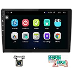 """【Android Car Radio】Installation size is 7.01""""(L)*3.94""""(H)*1.89""""(W), main screen size: 9.84""""(L)*5.71(H)"""". Fits for All Universal 2Din Cars. The Latest Android operation system, Quad Core, 1GB RAM and 16GB flash memory, ensure smooth operation and fast..."""