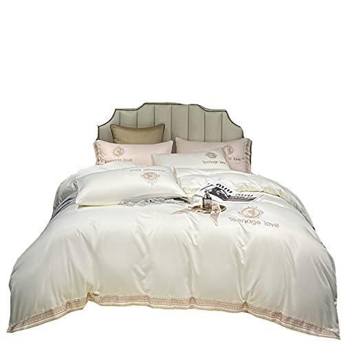 KFGF Ropa de cama de verano de seda lavada nueva cama de cuatro piezas bordada, ligera, lujosa, ropa de cama, sábana blanca lechosa, 1,5 m - 1,8 m, juego de 4 piezas
