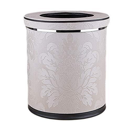 ZRJ Cubo de basura de piel sintética con tapa, cesta de papel de desecho, con cubo interior extraíble, para hotel, dormitorio, baño, sala de estar, etc. Papelera de escritorio (color neoclásico)