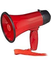 Relaxdays - Megáfono con sonido de aceite, cuerno de buey con mango plegable y correa, plástico, 10 W, color rojo