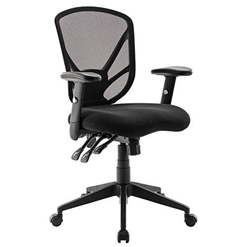 Ergonomic Mesh Office Chair High Back Computer Desk Chair with 3 Functional Adjustors Adjustable Back Support&Armrests Swivel Executive Task Chair for Work Gaming Home Thick Padded Black