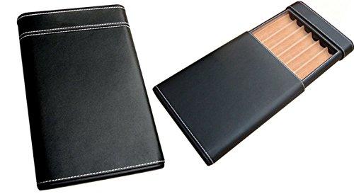 Prestige Import Group - 6 Cigar Leather Travel Case - Color: Black w/White Stitching