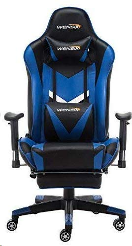 WENSIX Gaming Chair Video Game Chair Ergonomic Racing Chair Computer Chair High-Back PU Leather Massage with Headrest, Lumbar Support and Footrest (Blue) blue chair gaming