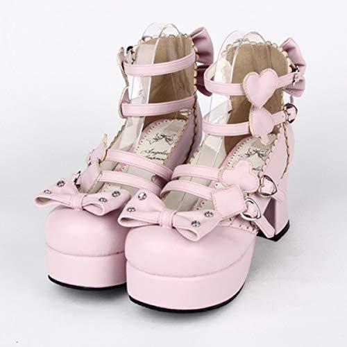 HHXXTTXS Zapatos góticos de Lolita Cosplay Zapatos de Bowtie de tacón Alto de póker