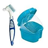 Estuche para Dentadura, Caja para Baño de Dentadura para Taza de Dentadura con Cepillo de Limpieza (Color Aleatorio), Baño para Dentadura para Limpieza de Retenedores (Azul)