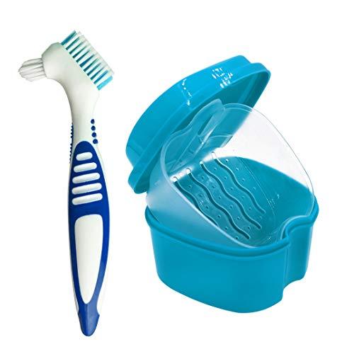 Box für Zahnprothese Gebissdose Zahnspangendose mit Sieb Aufbewahrungsbox Prothesenreinigungsbürste für Prothesen (blau)