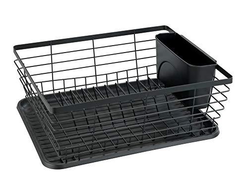 WENKO Geschirrabtropfer Drip, Abtropfgestell für Geschirr, ideal zum Abstellen neben der Spüle, aus pulverbeschichtetem Metall und Kunststoff, 36 x 15 x 30,3 cm, Schwarz