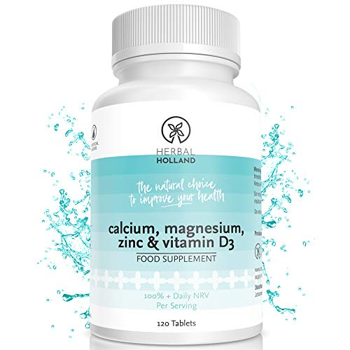 Herbal Holland Calcium, Magnesium, Zinc & Vitamin D3 Supplement for Men & Women – High Potency Vegetarian Calcium, Zinc, Magnesium Pills with Vitamin D3 for Strong Bones & Immune System - 90 Tablets