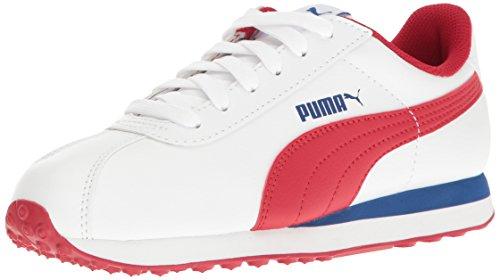 PUMA Turin JR Running Shoe, White-Barbados, 6.5 M US Big Kid