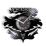 Reloj de pared con disco de vinilo inspirado en la natación, nadador,...