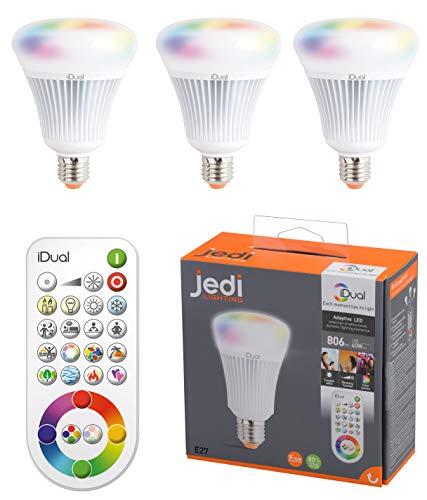 3er Pack Jedi E14 iDual mit Fernbedienung dimmbar Farbwechsel