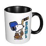 Sahl Snoopy - Tazza da caffè grande, in ceramica, per caffè, tè, cacao e bevande brullate, colore: nero