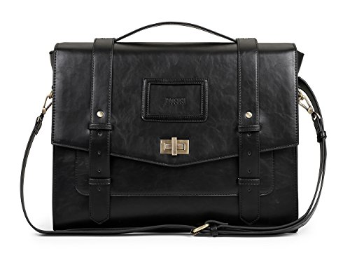 ECOSUSI Ladies Faux Leather Briefcase Shoulder Laptop Messenger Bags Satchel Bag Cambridge Backpack Fit 14' Laptop Black