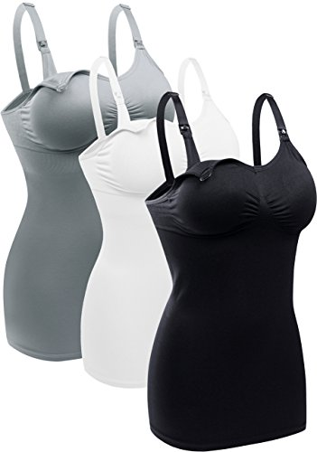 Womens Nursing Tank Tops Built in Bra for Breastfeeding Maternity Camisole Brasieres Color Black Grey White Size L Pack of 3