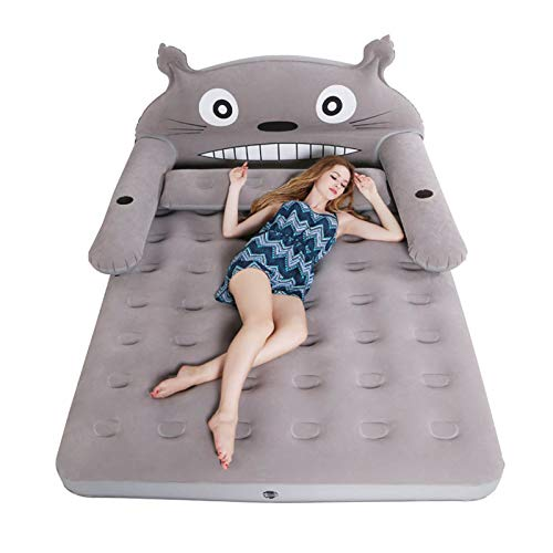 VIVITG Inflatable Folding Totoro Cartoon Bed Cute Sleeping Bag with Backrest Soft Bed, Bedroom Cushioned Furniture, with Built in Electric Pump,200 * 150 * 20cm