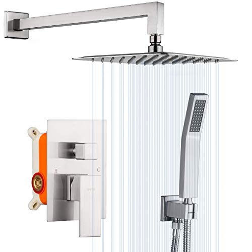 GAPPO Shower System Brushed Nickel Wall Mounted High Pressure 10 Inch Rain Shower Head System Rainfall Shower Faucet Shower Combo Set with Handheld Rough-in Valve Included