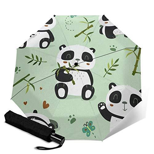 FONSMAY Windproof Travel Umbrella,Lovely Panda Anti-UV Waterproof Portable Auto Open & Close Umbrella for Outdoor