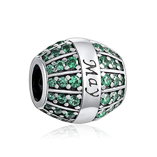 HQCROW May Emerald Color Sterling Silver Birthday Birthstone Charms Bead For Charm Bracelets