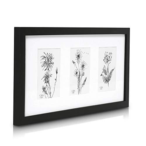 Classic by Casa Chic Echtholz 3er Bilderrahmen für 10x15 Bilder mit Plexiglasscheibe - Schwarz - Rahmenbreite 2cm