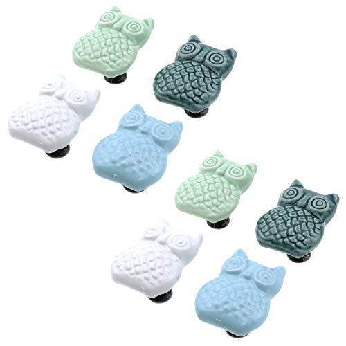 Bitray Ceramic Owl Knobs, Ceramic Pull Handles for Drawers Cabinets Furniture,4 colors 8PCS