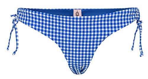 Becksöndergaard Damen Bikini Unterteil Check Frill - Bikinihose Kariert Vichy Blau Weiß Polyester Mix Größe S - 1904452009-202