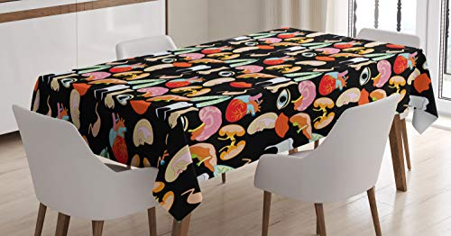 """Ambesonne Anatomy Tablecloth, Human Organs with Heart Eye Nose Lungs Liver Ears Mouth Brain Lips Humor Design, Rectangular Table Cover for Dining Room Kitchen Decor, 52"""" X 70"""", Black Pink"""