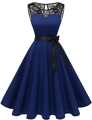 bbonlinedress 1950er Ärmellos Vintage Retro Spitzenkleid Rundhals Abendkleid Navy 3XL