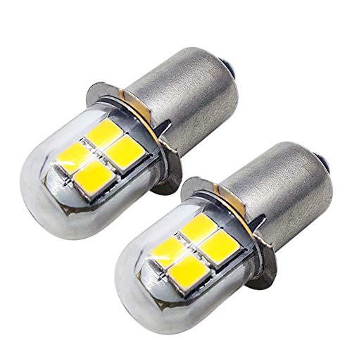 Ruiandsion 2 st P13.5S LED-glödlampa gul 2835 8SMD chips 4.5V 6V LED-glödlampa uppgradering för pannlampor ficklampor facklampa, icke-polaritet