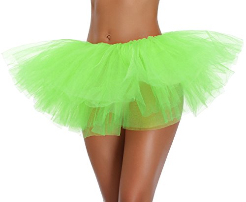 Women's Teen Adult Classic Elastic 3 4 5 Layered Tulle Tutu Skirt (One Size, Green 5Layer)