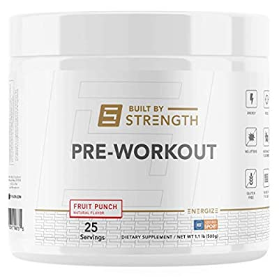 BuiltByStrength Pre Workout Energy Powder Supplement with Creatine, Caffeine, Beta Alanine and Citrulline - Promotes Strength, Endurance, Energy and Focus - Fruit Punch (30 Servings)