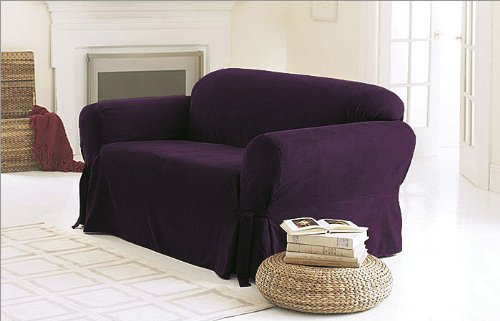 Chezmoi Collection Soft Micro Suede Solid Purple Couch/Sofa Cover Slipcover with Elastic Band Under Seat Cushion