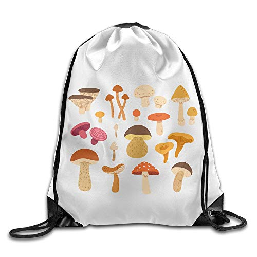 JIMSTRES Different Types of Mushrooms Drawstring Backpack Cinch Sack Bags Print