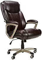 "Your purchase includes One Amazon Basics Big & Tall Executive Computer Desk Chair in Brown color with Pewter Finish Chair dimensions: 28.5"" L x 30.25"" W x 44.75-47.9"" H. Supported weight: 350 lbs. Seat adjustment: 19.29"" - 22.44"" H High-back executiv..."