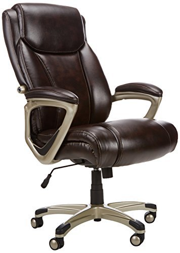 Amazon Basics Big & Tall Executive Computer Desk Chair, Brown with Pewter Finish