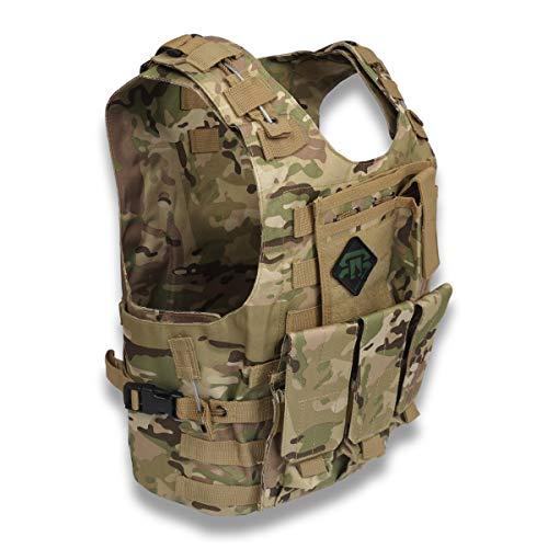 REX RAW ® – Chaleco de combate táctico tipo militar – 3 elementos sistema Molle incluido + funda – para reportar fotos, camping, caza, airsoft, paintball, Trekking Survivalismo Urbex
