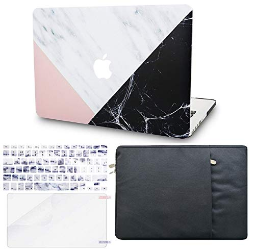 KECC Laptop Case for MacBook Pro 13' (2020, Touch Bar) w/Keyboard Cover + Sleeve + Screen Protector (4 in 1 Bundle) Hard Shell A2289/A2251 (White Marble Pink Black)